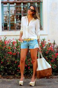 #fashion #fashionista Vanessa bianco jeans Camisa e shorts   Decor e Salto Alto