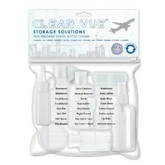 Clear Vue Travel Bottle Assortment Packed in TSA Approved Pouch pieces) Travel Bottles, Hair Gel, Body Wash, Body Lotion, Lip Balm, Shampoo, Moisturizer, Conditioner, Pouch