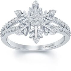 """Enchanted by Disney 1/4 C.T. T.W. Diamond """"Frozen"""" Snowflake Ring In... ($187) ❤ liked on Polyvore featuring jewelry and rings"""