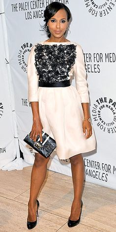 Kerry Washington in her lace-embellished ivory dress by Christian Dior, worn with matching accessories and Le Vian jewelry to a Beverly Hills Paley Center event for her show Scandal.