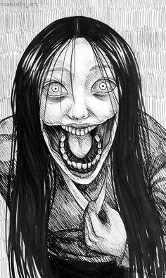 [Inktober] Day Am I pretty? by RavenDANIELS - dibujos terrorificos [Inktober] Day Am I pretty? Scary Drawings, Dark Art Drawings, Creepy Sketches, Halloween Drawings, Halloween Poster, Drawing Art, Arte Horror, Horror Art, Manga Art