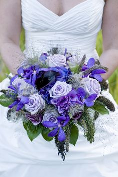 Bridal Bouquet Purple rose, orchids, calla, hydrangea