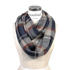 Scarfand Plaid Tartan Checker Block Infinity Scarf (Plaid Navy) at Amazon Men's Clothing store: | @giftryapp