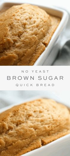 This brown sugar bread recipe is full of flavor and incredibly easy to make. A no yeast bread made with staple ingredients and just 5 minutes hands-on time! #quickbread #bread #noyeast No Yeast Bread, Sugar Bread, Yeast Bread Recipes, Quick Bread Recipes, Easy Bread, Bread Baking, Baking Recipes, Dessert Recipes, Desserts