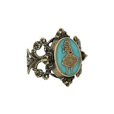 Disney Alice In Wonderland Cameo Ring | Hot Topic (34 BRL) ❤ liked on Polyvore featuring jewelry, rings, metal rings, cameo ring, cameo jewellery, disney jewelry en metal jewelry