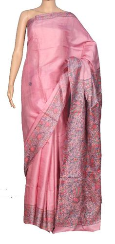Buy Hand Woven Textured Tussar Light peach Toned Madhubani Hand Painted Pure…