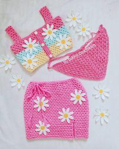 Diy Crochet Top, Easy Crochet Hat Patterns, Crochet Bikini Pattern, Crochet Girls, Cute Crochet, Crochet Designs, Crochet Baby, Diy Crochet Projects, Crochet Crafts