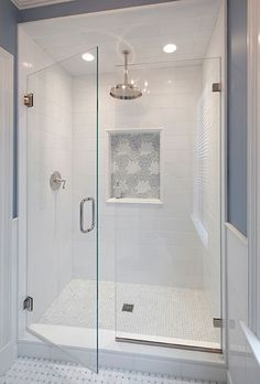 Bathroom shower tile ideas are a lot in choices. Grab some inspirations here and check out these shower tile ideas to revamp your old bathroom shower! Master Bathroom Shower, Bathroom Renos, Modern Bathroom, Bathroom Remodeling, Remodeling Ideas, Shower Ideas Bathroom, Bathroom Shower Remodel, Bathroom Vanities, Upstairs Bathrooms