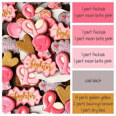 How to make Breast Cancer Awareness icing colors - a cookie decorating icing color palette with formulas Icing Color Chart, Color Mixing Chart, Color Charts, Color Combos, Cookie Decorating Icing, Food Decorating, Royal Icing Cookies, Sugar Cookies, Iced Cookies