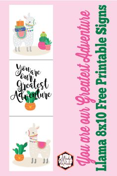 Looking for a DIY nursery decor project that is also FREE? Mandy's Party Printables has Free Animal Nusery Prints (yes, llamas! Free Baby Shower Printables, Party Printables, Cheap Diy Nursery Decor, Llama Birthday, Cactus, Animal Nursery, Free Baby Stuff, Nursery Prints, Making Ideas
