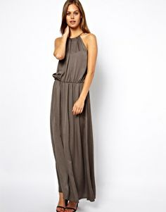 Image 1 ofASOS Maxi Dress with Halter - easy to wear every day pickups
