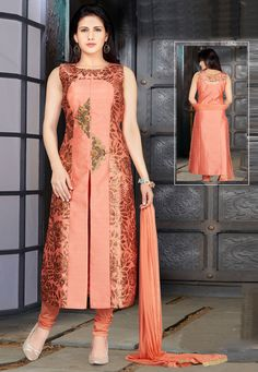 Buy Peach Silk Readymade Churidar Suit 156518 online at lowest price from huge collection of salwar kameez at Indianclothstore.com. Latest Salwar Kameez, Churidar Suits, Indian Designer Outfits, Designer Dresses, Party Wear Dresses, Dress Outfits, Front Slit Kurti, Silk Dupatta, Indian Suits