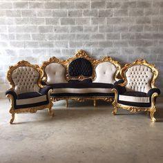 Baroque Tufted Settee Furniture Italian by SittinPrettyByMyleen