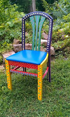 Hand Painted Furniture Chair Colorful Crazy Purple Back hand painted chairs Hand Painted Chairs, Whimsical Painted Furniture, Hand Painted Furniture, Funky Furniture, Refurbished Furniture, Colorful Furniture, Paint Furniture, Repurposed Furniture, Furniture Projects