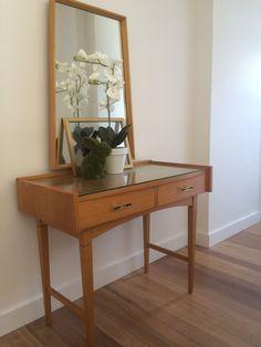 Vintage Retro MID Century Dressing Hall Side Table With Mirror | eBay