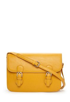 Faux Leather Satchel | FOREVER21 - #yellow