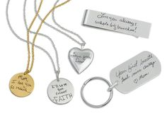 Handwriting jewelry by Megan Goldkamp Jewelry.  Just finished creating my own online website: www.megangoldkamp.com