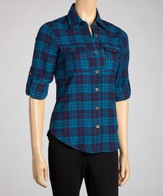 Take a look at this Teal Plaid Button-Up by Moa Collection on #zulily today!