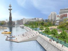 Krymskaya embankment – vision collage from Moscow – Towards a great city for people. Landscape Design Plans, Landscape Architecture Design, Historical Architecture, Urban Landscape, Floating Architecture, Water Architecture, Parque Linear, Urban Furniture, Urban Planning