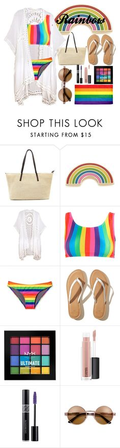 """rainbow by the pool"" by smillafrilla ❤ liked on Polyvore featuring Georgia Perry, Do Everything In Love, Hollister Co., NYX, MAC Cosmetics, Christian Dior and pride"