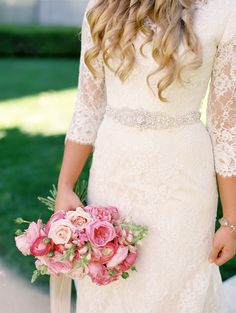 modest wedding dress with three quarter  sleeves and a slim skirt from alta moda. -- (modest bridal gown) --
