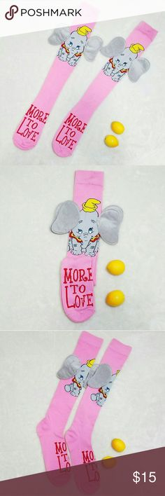 "Adorable 3D Dumbo Disney Knee High Socks Size 5-10 -Brand New with tags- You will receive one with tags attached! No defects. -Adorable fuzzy 6"" wide Dumbo Ears -Bottom reads ""More to Love""  -Great gift idea! Please use measurements for size reference, all measurements are taken laying flat: -Length 21.5"" -Width 3"" -98% Polyester -2% Spandex  -For shoe sizes 5-10 -Pink and Gray (colors' appearance may vary on screen)  Questions? Just ask! Bundle to save!  Offers welcome  Happy Poshing…"