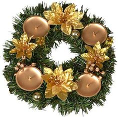 EverGreen Adventní věnec 25 cm, zlatá | MALL.CZ
