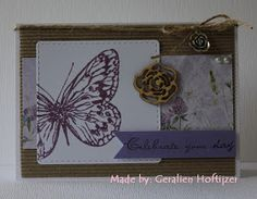 Hallo allemaal,     Ben nog ff bezig geweest met de vlinderstempel.   Deze keer heb ik het met Memento Dew Drops in een paarse kleur (Sweet...