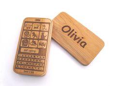 Christmas in July - Wooden Teething toy smart phone - baby geek fun teething play. $12.00, via Etsy.