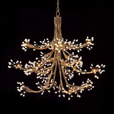 "Gilded Branch and Berry Chandelier Tiny crystal berries, illuminated by 14 mini halogen bulbs on each golden branch, add festive elegance to dining spaces. 14x20 watt low voltage halogen (bulbs included). (42""Hx44""W)"