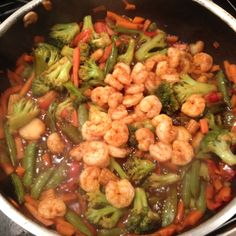 Stir fry with grilled shrimp! Yummo!