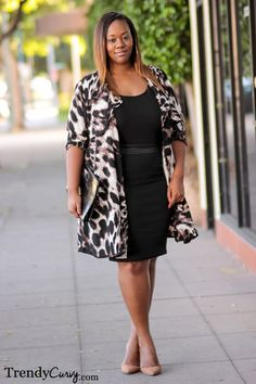 Plus Size Fall Favorites - Urban Jungle - Trendy Curvy Black tight dress+ leopard jacket= awesome style