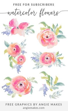 Enjoy This Collection of Free Girly Graphics and Watercolor Clip Art Courtesy of Angie Makes. These Cute, Girly Clip Art Images Are Totally FREE! Free Watercolor Flowers, Floral Watercolor, Watercolor Paintings, Watercolors, Pretty Fonts, Plant Drawing, Drawing Flowers, Free Graphics, Doodles