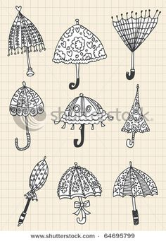 Doodles of umbrellas