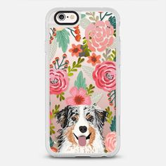 Aussie Florals - Australian shepherd blue merle flowers floral girly vintage cute case for aussie owners - New Standard Case