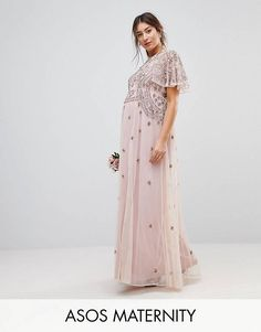Browse online for the newest ASOS DESIGN Maternity iridescent delicate beaded flutter sleeve maxi dress styles. Shop easier with ASOS' multiple payments and return options (Ts&Cs apply). Asos Maternity, Winter Maternity Outfits, Maternity Fashion, Maternity Dresses, Pregnancy Outfits, Maternity Wardrobe, Summer Maternity, Maternity Styles, Pregnancy Clothes