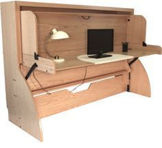 Study bed folds down to a full size bed without disturbing the stuff on the desk.