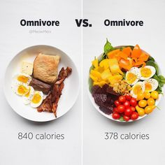 Healthy Recipes Eat more, weigh less! Both omnivore & vegan diets can be either healthy or unhealthy, depending o - Health and Nutrition Omnivore Diet, Healthy Snacks, Healthy Eating, Healthy Plate, Diet Recipes, Healthy Recipes, Healthy Tips, Healthy Weight, Food Swap