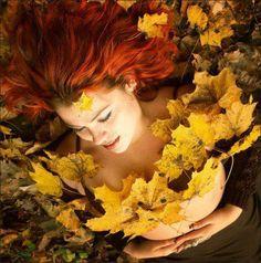 ella en el otoño