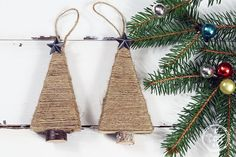 Quick and Easy DIY Farmhouse Christmas Ornament - The Cottage Market Salt Dough Christmas Ornaments, Stick Christmas Tree, Farmhouse Christmas Ornaments, Crochet Christmas Trees, Cottage Christmas, Handmade Christmas, Christmas Crafts, Christmas Decorations, Christmas Ideas