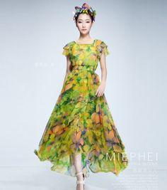 1ded31444ea16 Boho Chic Green Yellow Floral Chiffon Bohemian Aline by ChineseHut