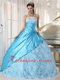 Buy new style aqua blue taffeta strapless quinceanera gown dress with lace from light blue quinceanera dresses collection, strapless neckline ball gowns in color,cheap floor length taffeta lace dress with lace up and for sweet 16 quinceanera . Sweet Sixteen Dresses, Sweet 15 Dresses, Light Blue Quinceanera Dresses, Dresser, Blue Ball Gowns, Lace Dress, Gown Dress, Beautiful Dresses, Amazing Dresses