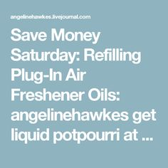 Save Money Saturday:  Refilling Plug-In Air Freshener Oils: angelinehawkes get liquid potpourri at dollar store