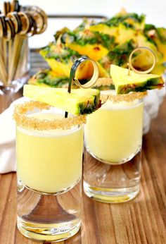 These Double Trouble Tropical Tequila Shots are hitting happy hour just in time for Cinco de Mayo! It'll definitely be a party with a few of these shots...