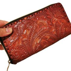 Women's Wallet, Leather, Vintage, Handmade , Hand Tooled Leather, Boho, Bohemian, Large Wallet , for Cards, Gift for Her by aymxleather on Etsy Tooled Leather, Leather Tooling, Cow Leather, Leather Wallet, Leather Bag, Casual Belt, Large Wallet, Wallets For Women Leather, Brown Bags