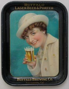 Vintage - Buffalo Brewing Co of Sacramento - California - USA - Lager Beer & Porter - Tray - 1905