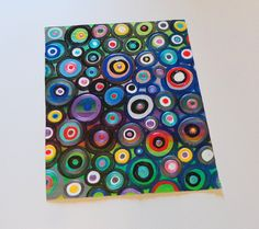 Abstract Circles Textured Original Acrylic Painting on Canvas Unstretched 10.5x8.5 Heather Montgomery Art. $24.00, via Etsy.