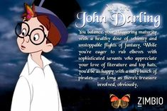 Which 'Peter Pan' Character Are You? I took Zimbio's 'Peter Pan' quiz and I'm John Darling! Who are you? #ZimbioQuiznull - Quiz<br> To take this quiz will be an awfully big adventure. Peter Pan Characters, Fictional Characters, Happy A, You And I, Appreciation, Literature, Family Guy, Adventure, Memes