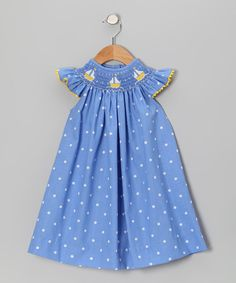 Take a look at this Blue Polka Dot Sailboat Smocked Dress - Infant, Toddler & Girls by Betti Terrell on #zulily today!