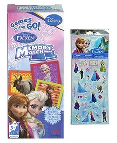 Disney Frozen Games on the GO Memory Match Game 24 players Plus Bonus Disney Frozen 25pk Stickers